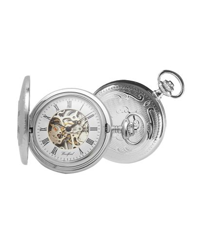 Mechanical Chrome Plated Patterned Pocket Watch With Chain
